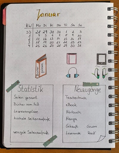 Bullet Journal Statistik Book